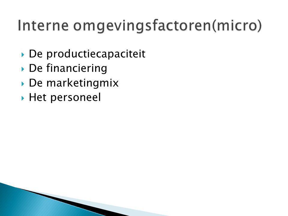  De productiecapaciteit  De financiering  De marketingmix  Het personeel