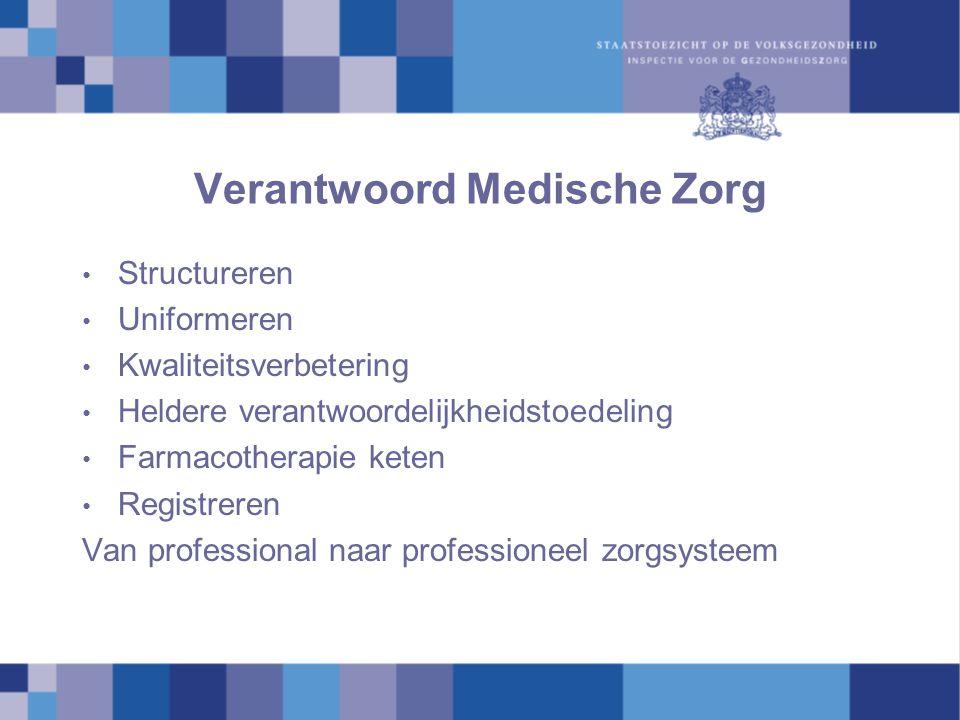 Verantwoord Medische Zorg Structureren Uniformeren Kwaliteitsverbetering Heldere verantwoordelijkheidstoedeling Farmacotherapie keten Registreren Van