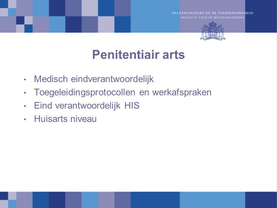Penitentiair arts Medisch eindverantwoordelijk Toegeleidingsprotocollen en werkafspraken Eind verantwoordelijk HIS Huisarts niveau