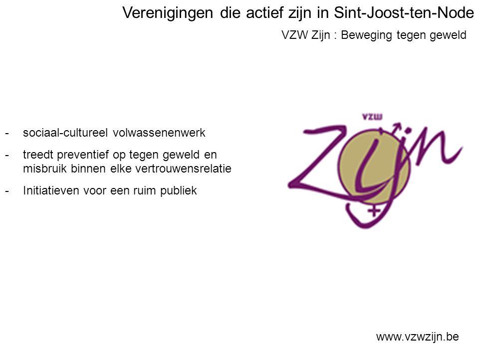 VZW Zijn : Beweging tegen geweld www.vzwzijn.be -sociaal-cultureel volwassenenwerk -treedt preventief op tegen geweld en misbruik binnen elke vertrouwensrelatie -Initiatieven voor een ruim publiek Verenigingen die actief zijn in Sint-Joost-ten-Node