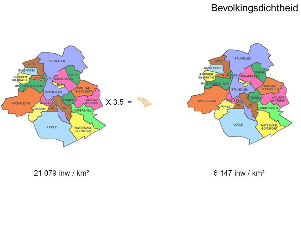 Bevolkingsdichtheid 6 147 inw / km² X 3.5 = 21 079 inw / km²