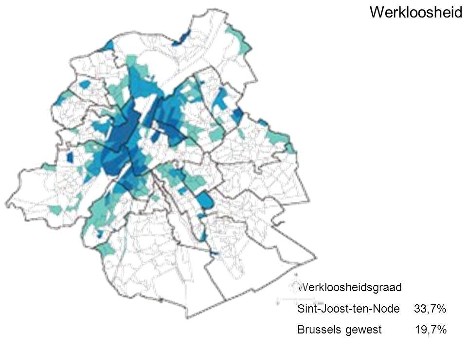 Werkloosheid Werkloosheidsgraad Sint-Joost-ten-Node 33,7% Brussels gewest 19,7%