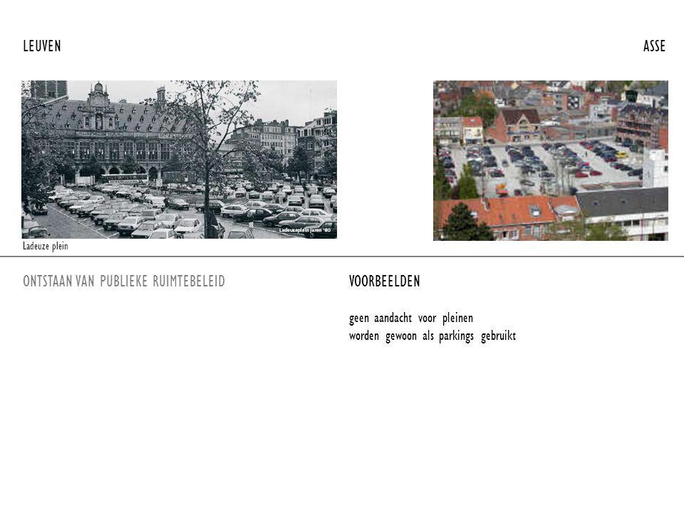 ONTSTAAN VAN PUBLIEKE RUIMTEBELEIDVOORBEELDEN LEUVEN ASSE geen aandacht voor pleinen worden gewoon als parkings gebruikt Ladeuze plein