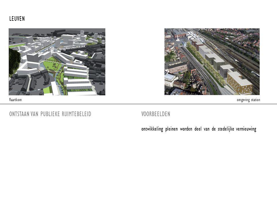 ONTSTAAN VAN PUBLIEKE RUIMTEBELEIDVOORBEELDEN LEUVEN ontwikkeling pleinen worden deel van de stedelijke vernieuwing Vaartkom omgeving station
