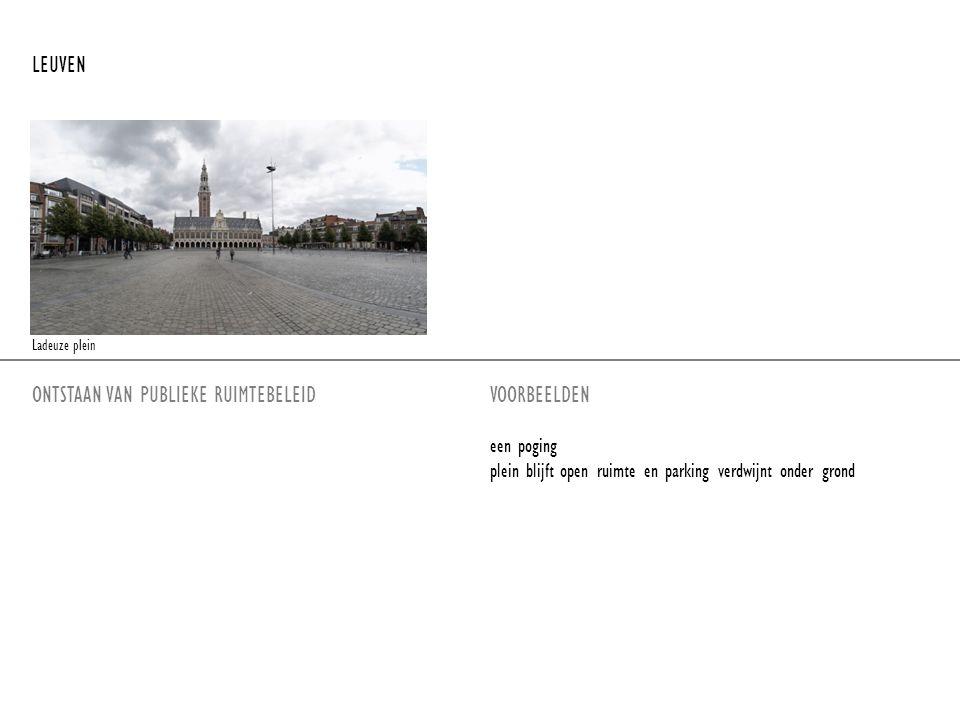 ONTSTAAN VAN PUBLIEKE RUIMTEBELEIDVOORBEELDEN een poging plein blijft open ruimte en parking verdwijnt onder grond LEUVEN Ladeuze plein