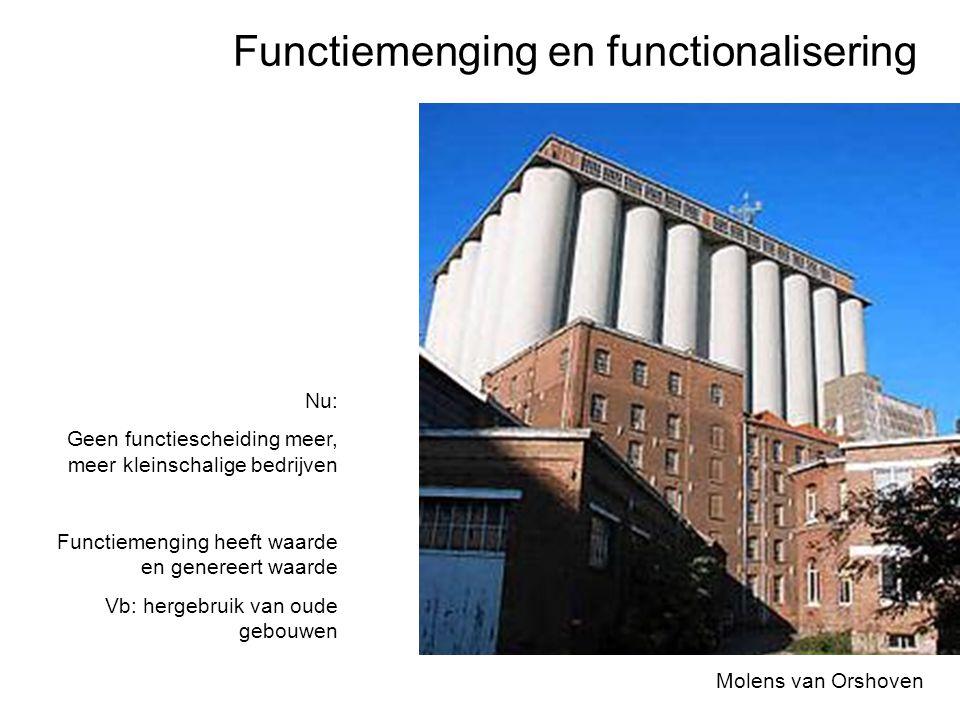 Functiemenging en functionalisering Molens van Orshoven Nu: Geen functiescheiding meer, meer kleinschalige bedrijven Functiemenging heeft waarde en ge