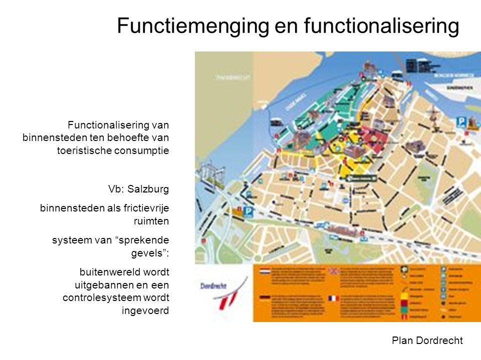 Functiemenging en functionalisering Plan Dordrecht Functionalisering van binnensteden ten behoefte van toeristische consumptie Vb: Salzburg binnensted