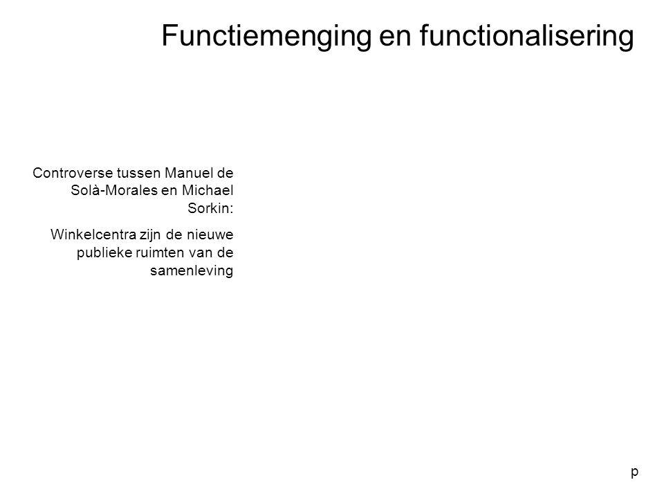 Functiemenging en functionalisering p Controverse tussen Manuel de Solà-Morales en Michael Sorkin: Winkelcentra zijn de nieuwe publieke ruimten van de
