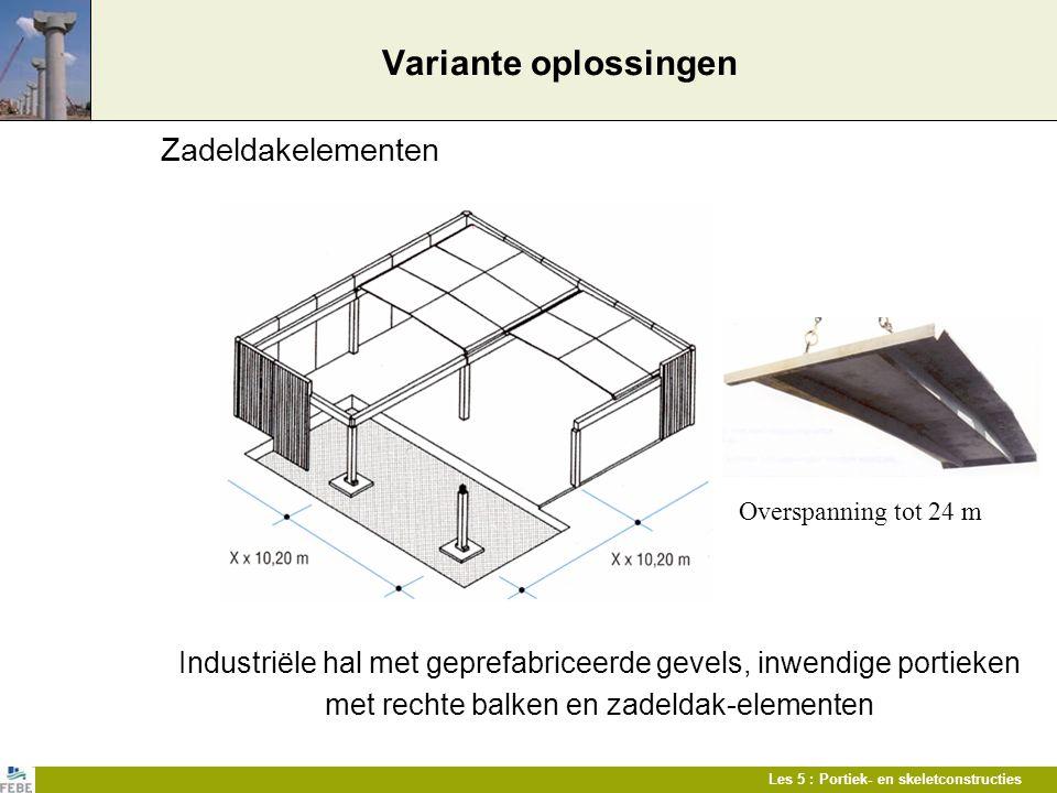 Les 5 : Portiek- en skeletconstructies Variante oplossingen Zadeldakelementen Industriële hal met geprefabriceerde gevels, inwendige portieken met rec