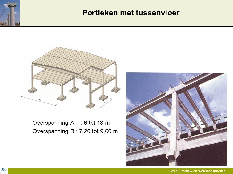 Les 5 : Portiek- en skeletconstructies Portieken met tussenvloer Overspanning A : 6 tot 18 m Overspanning B : 7,20 tot 9,60 m
