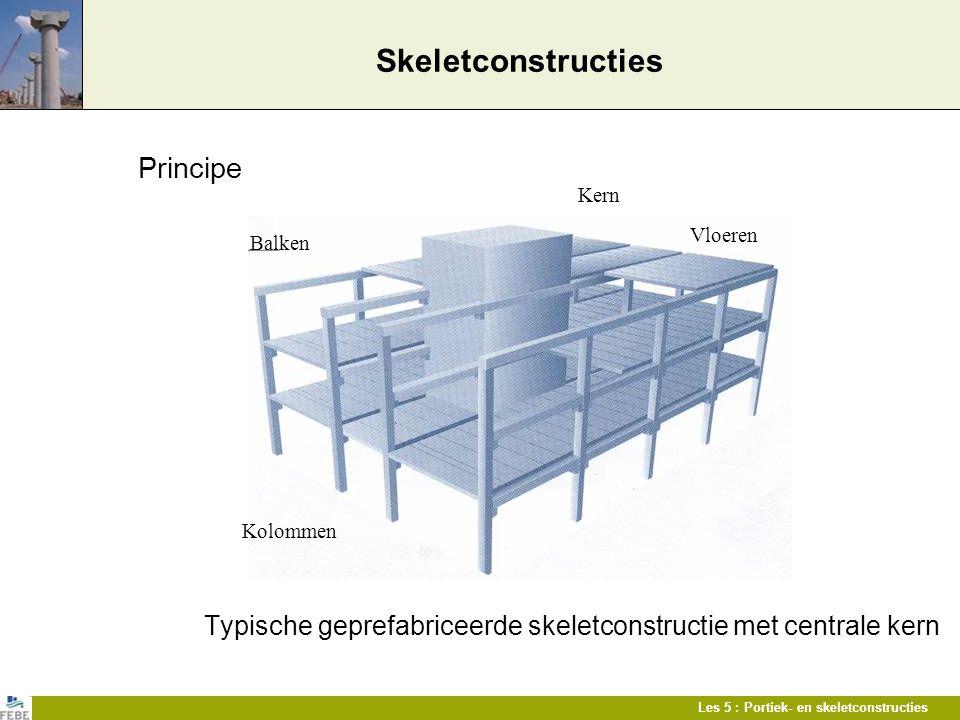 Les 5 : Portiek- en skeletconstructies Skeletconstructies Principe Typische geprefabriceerde skeletconstructie met centrale kern Kern Balken Vloeren K