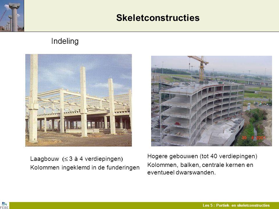 Les 5 : Portiek- en skeletconstructies Skeletconstructies Laagbouw (  3 à 4 verdiepingen ) Kolommen ingeklemd in de funderingen Hogere gebouwen (tot
