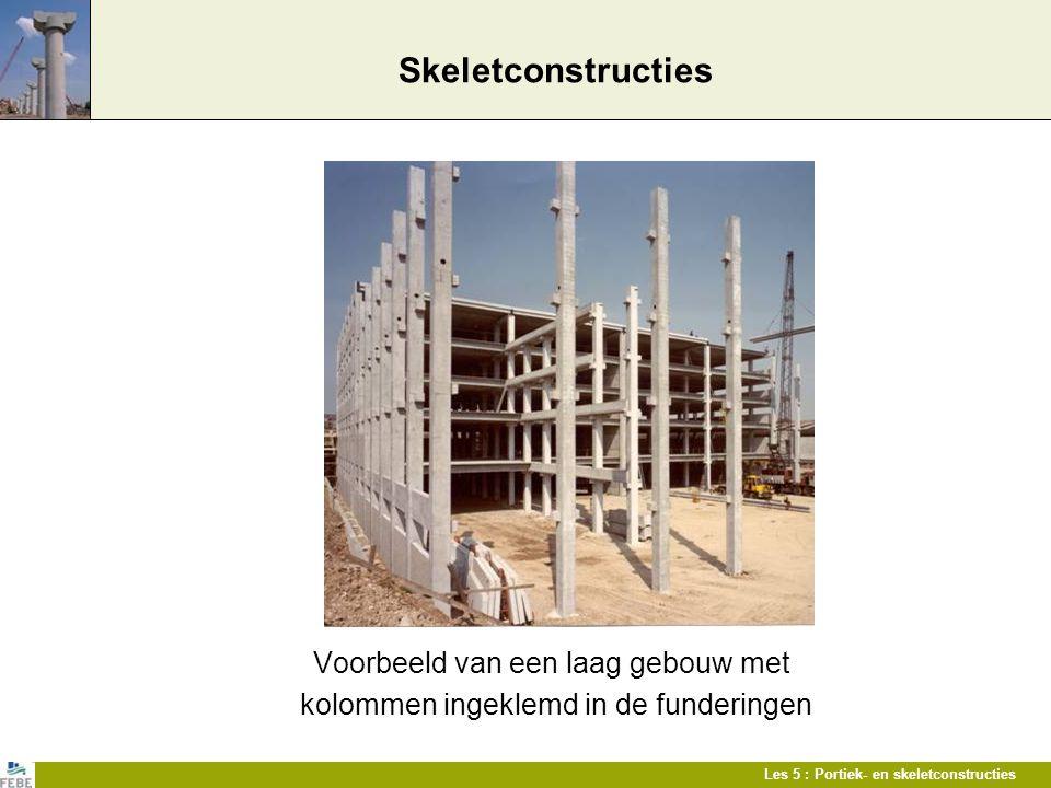 Les 5 : Portiek- en skeletconstructies Skeletconstructies Voorbeeld van een laag gebouw met kolommen ingeklemd in de funderingen