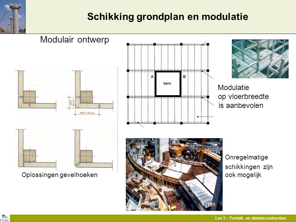 Les 5 : Portiek- en skeletconstructies Schikking grondplan en modulatie Modulair ontwerp Modulatie op vloerbreedte is aanbevolen Onregelmatige schikki