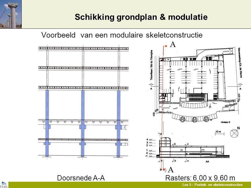 Les 5 : Portiek- en skeletconstructies Voorbeeld van een modulaire skeletconstructie Doorsnede A-A Rasters: 6,00 x 9,60 m Schikking grondplan & modula
