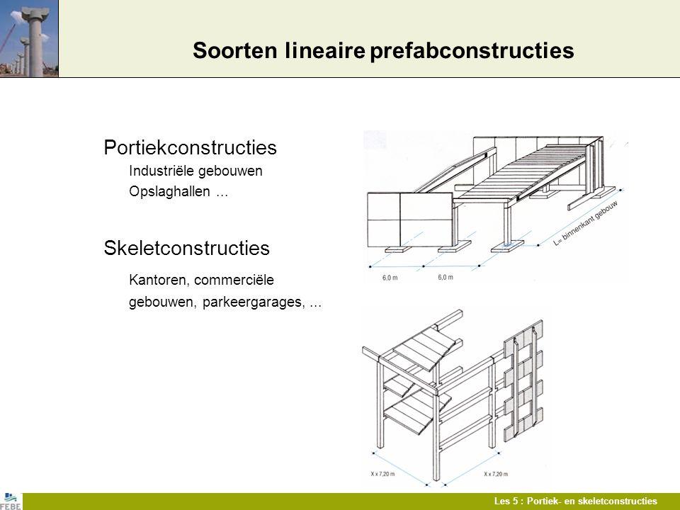 Les 5 : Portiek- en skeletconstructies Soorten lineaire prefabconstructies Portiekconstructies Industriële gebouwen Opslaghallen... Skeletconstructies