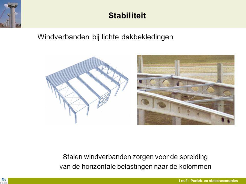 Les 5 : Portiek- en skeletconstructies Stabiliteit Windverbanden bij lichte dakbekledingen Stalen windverbanden zorgen voor de spreiding van de horizo