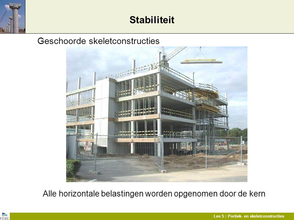 Les 5 : Portiek- en skeletconstructies Stabiliteit Geschoorde skeletconstructies Alle horizontale belastingen worden opgenomen door de kern