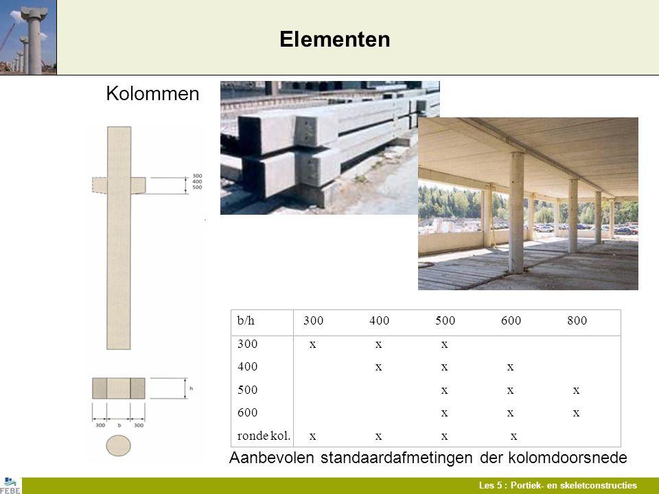 Les 5 : Portiek- en skeletconstructies Elementen Kolommen Aanbevolen standaardafmetingen der kolomdoorsnede b/h300400500600800 300 x x x 400 x x x 500