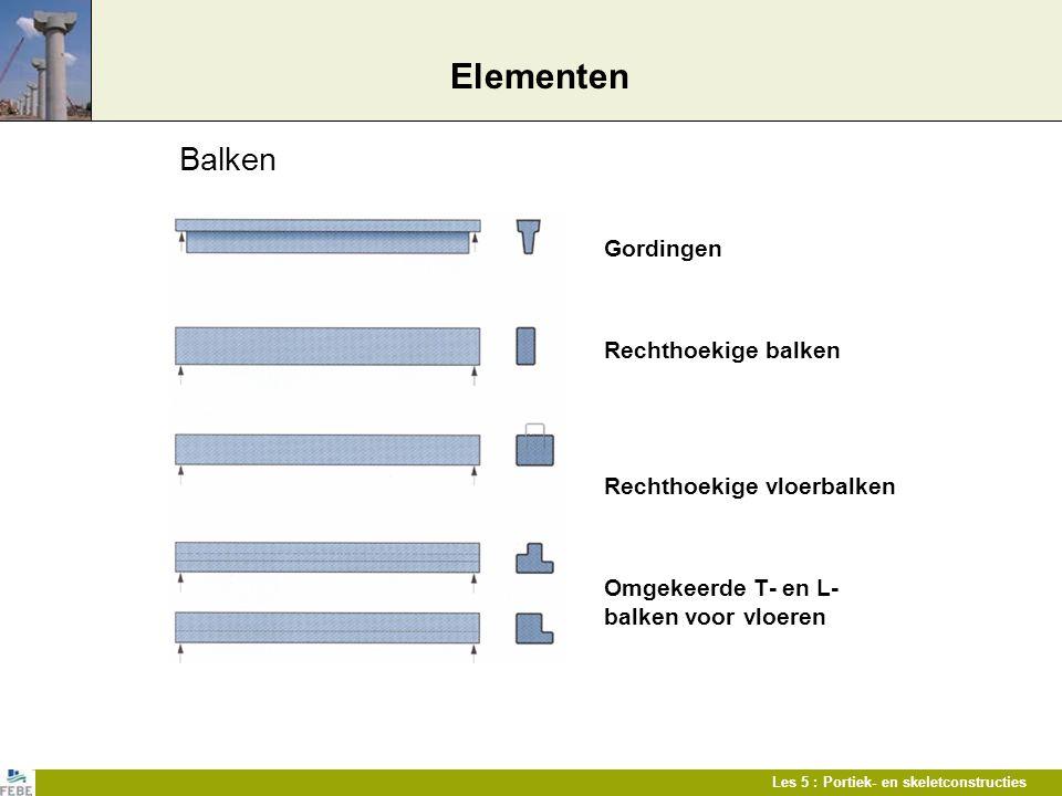 Les 5 : Portiek- en skeletconstructies Elementen Balken Gordingen Rechthoekige balken Rechthoekige vloerbalken Omgekeerde T- en L- balken voor vloeren