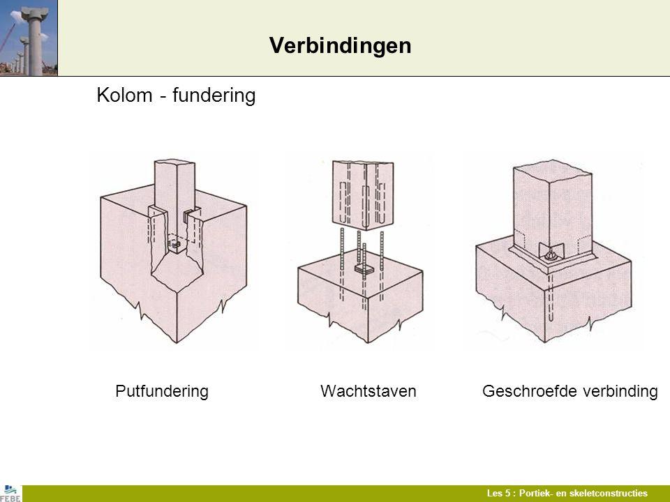 Les 5 : Portiek- en skeletconstructies Verbindingen Kolom - fundering Putfundering Wachtstaven Geschroefde verbinding