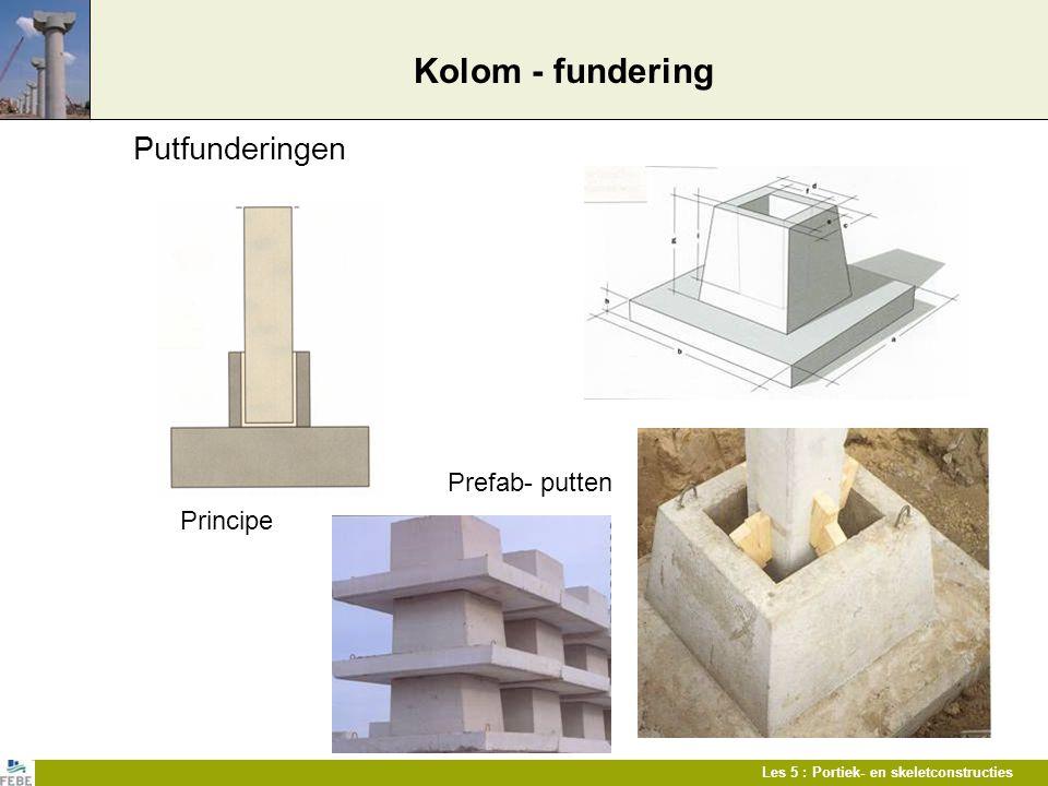 Les 5 : Portiek- en skeletconstructies Kolom - fundering Putfunderingen Prefab- putten Principe