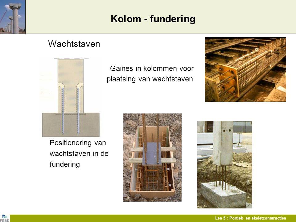 Les 5 : Portiek- en skeletconstructies Kolom - fundering Wachtstaven Gaines in kolommen voor plaatsing van wachtstaven Positionering van wachtstaven i
