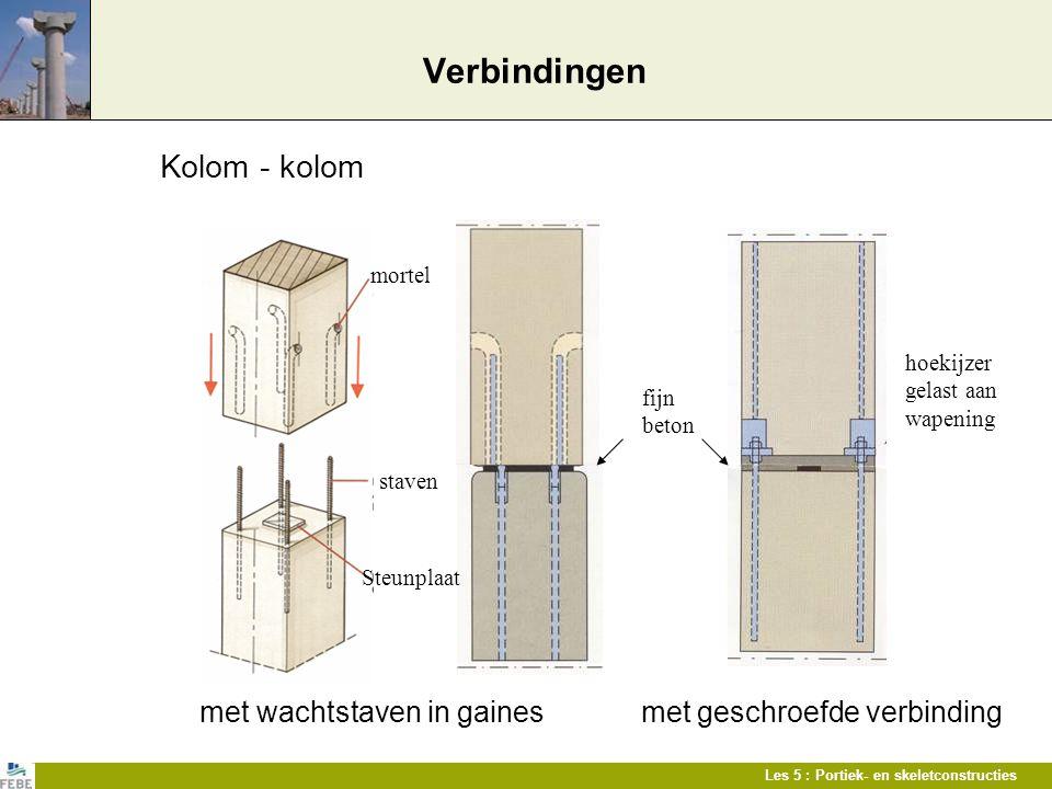 Les 5 : Portiek- en skeletconstructies Verbindingen Kolom - kolom met wachtstaven in gaines met geschroefde verbinding mortel staven Steunplaat hoekij