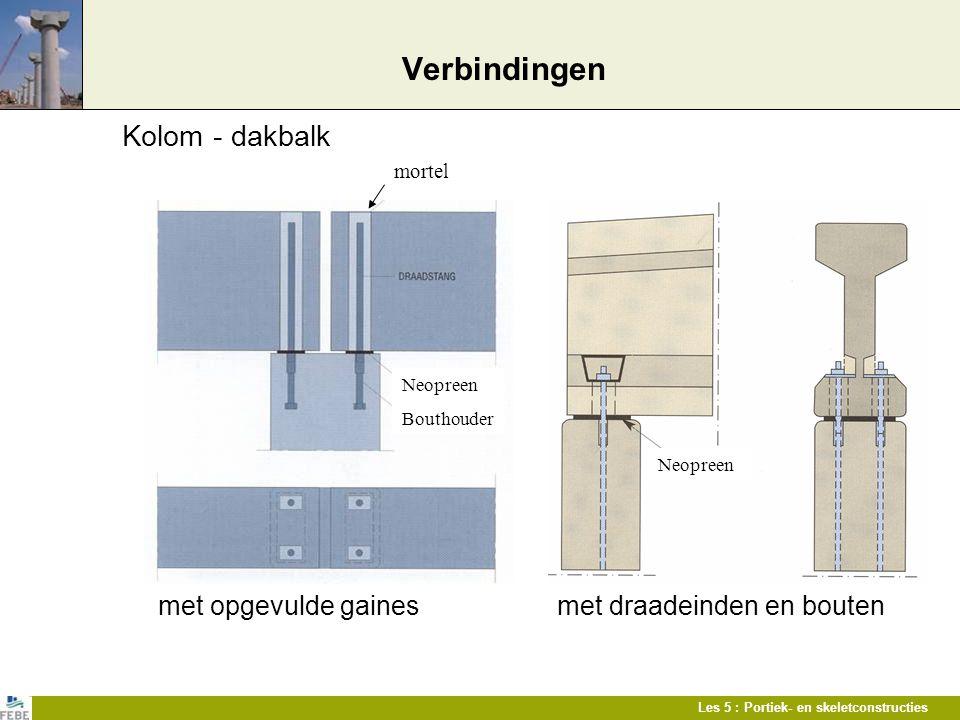 Les 5 : Portiek- en skeletconstructies Verbindingen Kolom - dakbalk met opgevulde gaines met draadeinden en bouten mortel Neopreen Bouthouder Neopreen