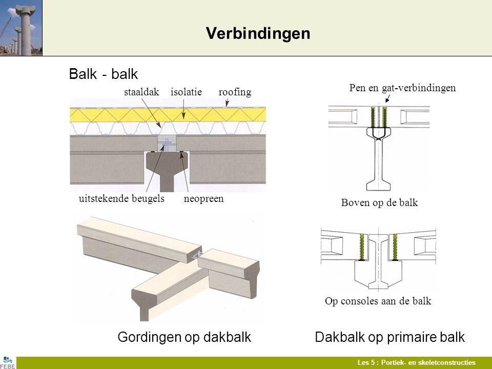 Les 5 : Portiek- en skeletconstructies Verbindingen Balk - balk Gordingen op dakbalkDakbalk op primaire balk staaldak isolatie roofing uitstekende beu