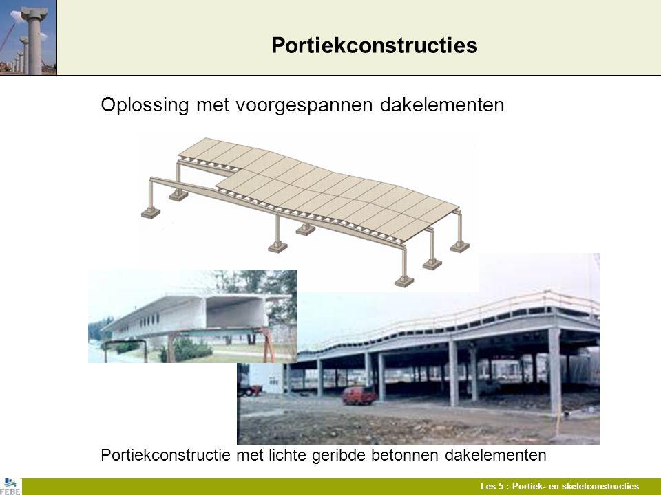 Les 5 : Portiek- en skeletconstructies Portiekconstructies Oplossing met voorgespannen dakelementen Portiekconstructie met lichte geribde betonnen dak