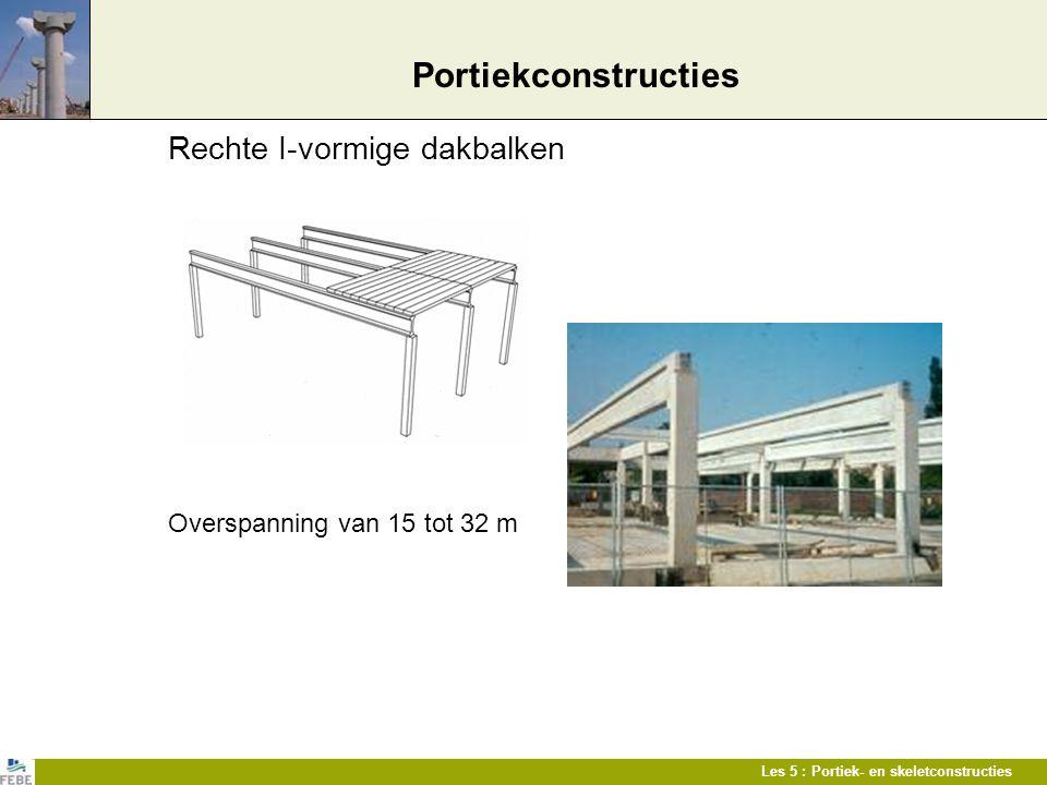 Les 5 : Portiek- en skeletconstructies Portiekconstructies Rechte I-vormige dakbalken Overspanning van 15 tot 32 m