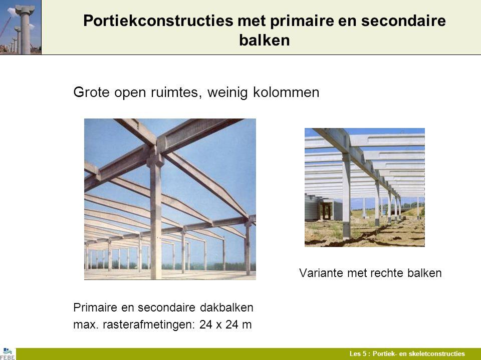 Les 5 : Portiek- en skeletconstructies Portiekconstructies met primaire en secondaire balken Grote open ruimtes, weinig kolommen Variante met rechte b