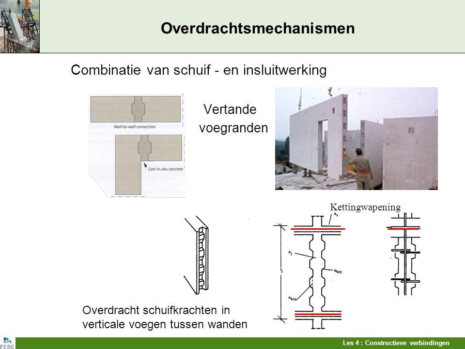 Les 4 : Constructieve verbindingen Overdrachtsmechanismen Combinatie van schuif - en insluitwerking Vertande voegranden Overdracht schuifkrachten in v
