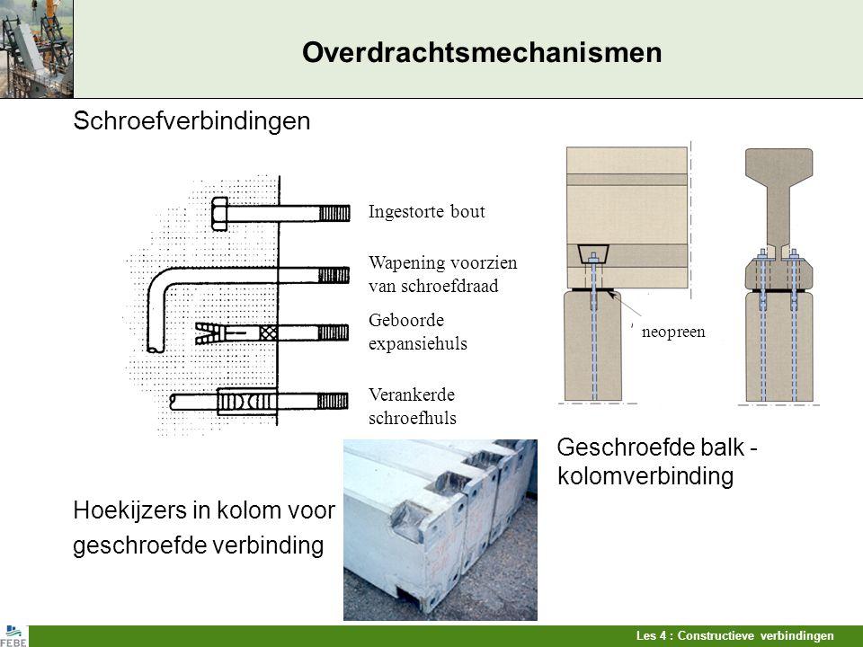 Les 4 : Constructieve verbindingen Overdrachtsmechanismen Schroefverbindingen Geschroefde balk - kolomverbinding Hoekijzers in kolom voor geschroefde