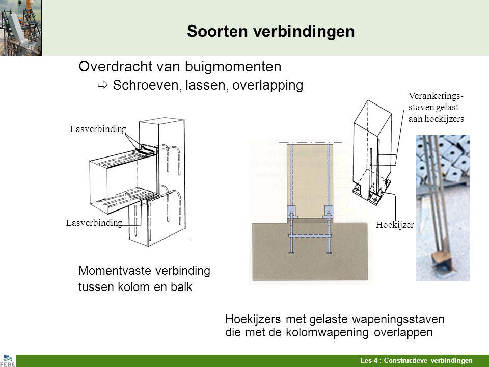 Les 4 : Constructieve verbindingen Soorten verbindingen Overdracht van buigmomenten  Schroeven, lassen, overlapping Momentvaste verbinding tussen kol