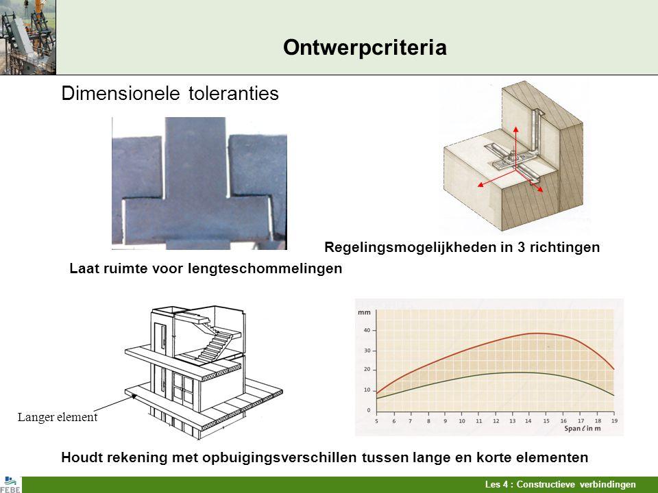Les 4 : Constructieve verbindingen Ontwerpcriteria Dimensionele toleranties Regelingsmogelijkheden in 3 richtingen Laat ruimte voor lengteschommelinge