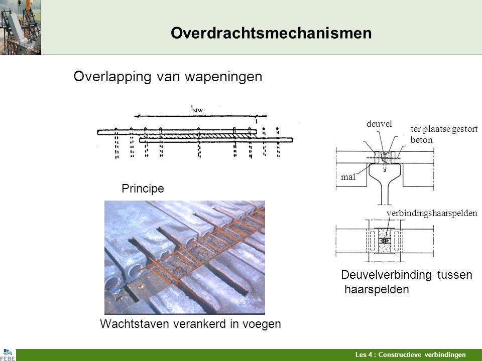 Les 4 : Constructieve verbindingen Overdrachtsmechanismen Overlapping van wapeningen Principe Deuvelverbinding tussen haarspelden Wachtstaven veranker