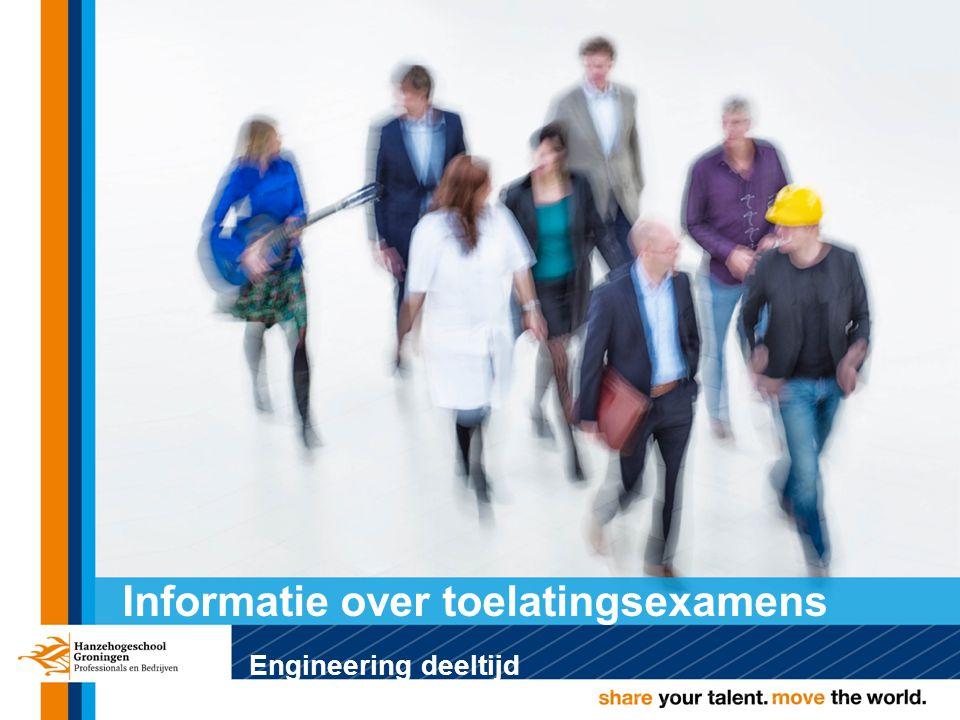 Voor iedereen die een Engineering deeltijd opleiding (Elektrotechniek, Technische bedrijfskunde, Werktuigbouwkunde en Associate degree Projectleider techniek) aan de Hanzehogeschool Groningen wil volgen, maar niet voldoet aan de toelatingseisen en die 21 jaar of ouder is (21+ regeling).
