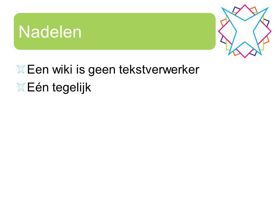 Nadelen Een wiki is geen tekstverwerker Eén tegelijk
