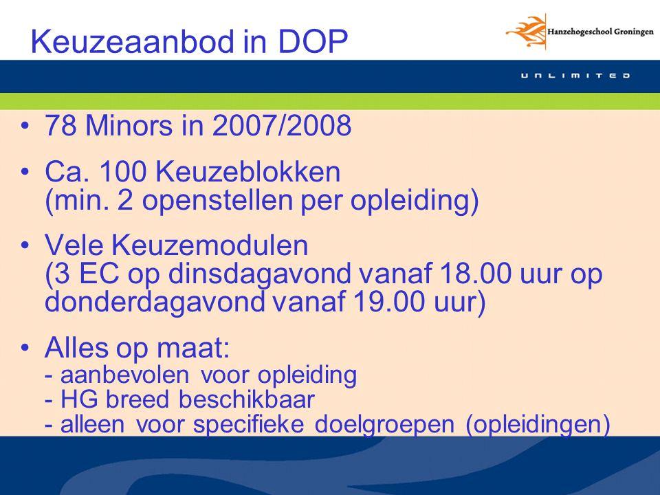 Keuzeaanbod in DOP 78 Minors in 2007/2008 Ca. 100 Keuzeblokken (min.