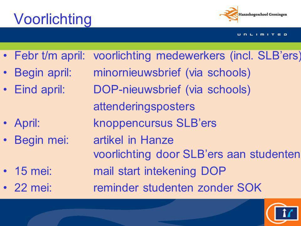 Voorlichting Febr t/m april:voorlichting medewerkers (incl. SLB'ers) Begin april:minornieuwsbrief (via schools) Eind april: DOP-nieuwsbrief (via schoo