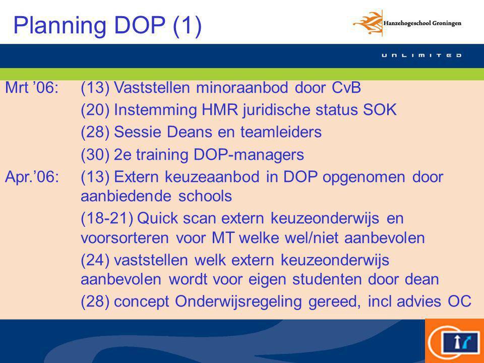 Planning DOP (1) Mrt '06:(13) Vaststellen minoraanbod door CvB (20) Instemming HMR juridische status SOK (28) Sessie Deans en teamleiders (30) 2e trai