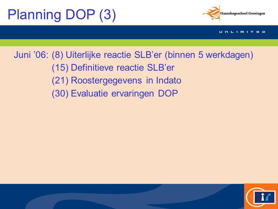 Planning DOP (3) Juni '06:(8) Uiterlijke reactie SLB'er (binnen 5 werkdagen) (15) Definitieve reactie SLB'er (21) Roostergegevens in Indato (30) Evalu
