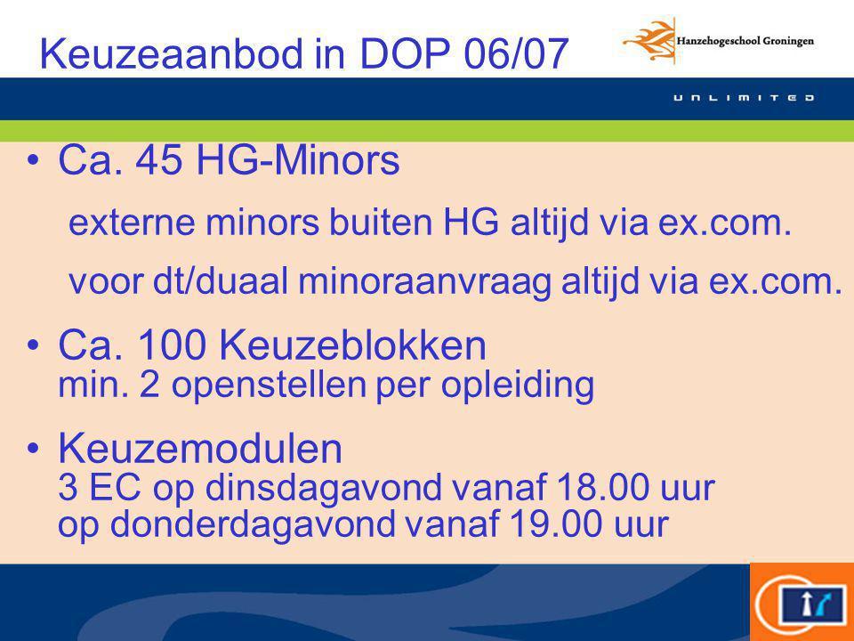 Keuzeaanbod in DOP 06/07 Ca. 45 HG-Minors externe minors buiten HG altijd via ex.com. voor dt/duaal minoraanvraag altijd via ex.com. Ca. 100 Keuzeblok