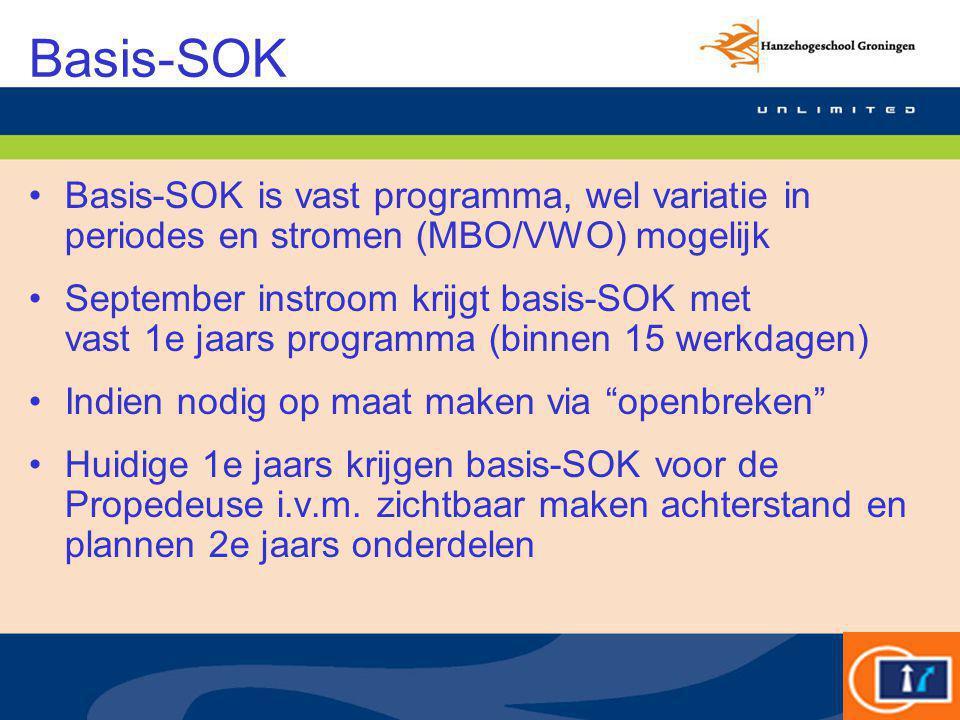 Basis-SOK Basis-SOK is vast programma, wel variatie in periodes en stromen (MBO/VWO) mogelijk September instroom krijgt basis-SOK met vast 1e jaars pr