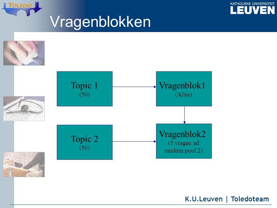 K.U.Leuven | Toledoteam Vragenblokken Topic 1 (50) Topic 2 (50) Vragenblok1 (Alles) Vragenblok2 (5 vragen ad random pool 2)