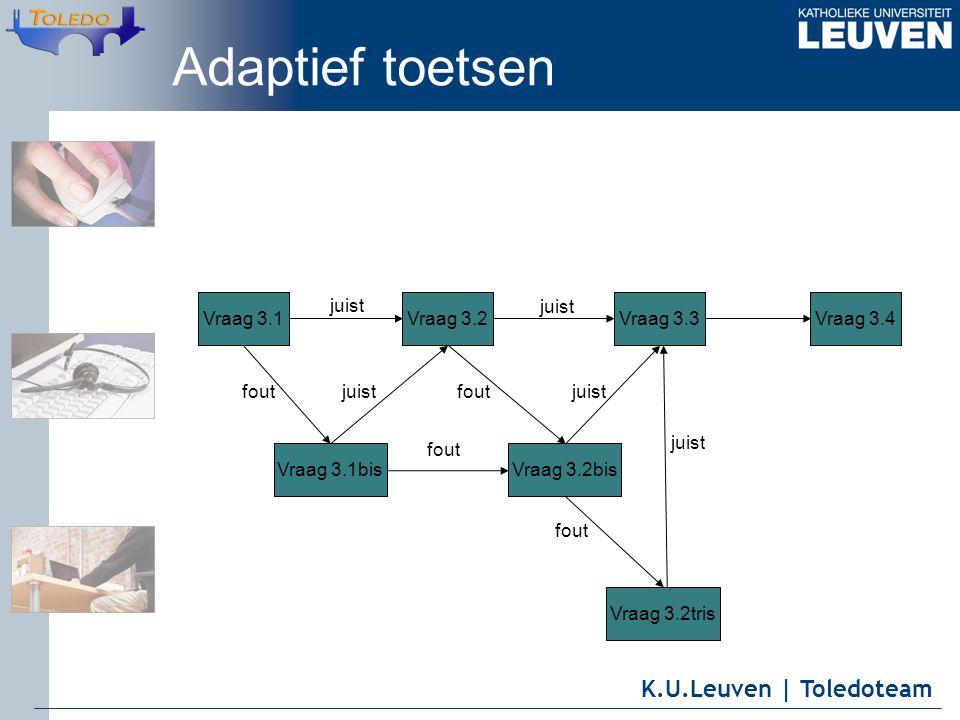 K.U.Leuven | Toledoteam Vraag 3.1Vraag 3.2Vraag 3.3Vraag 3.4 Vraag 3.1bis Vraag 3.2bis juist foutjuist fout juistfout Vraag 3.2tris fout juist Adaptief toetsen