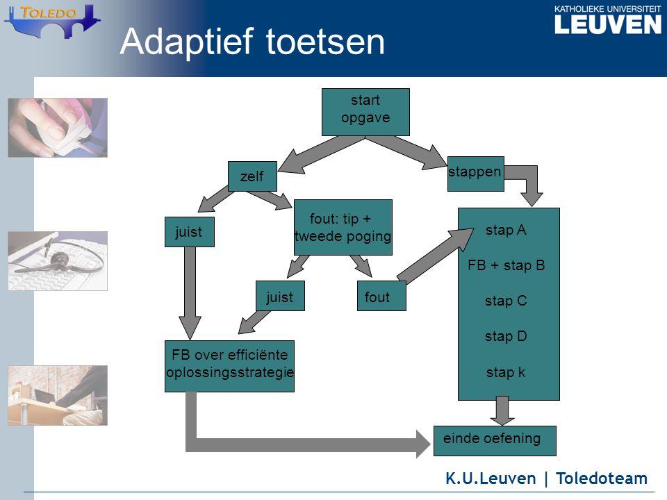 K.U.Leuven | Toledoteam stappen juist fout: tip + tweede poging juist FB over efficiënte oplossingsstrategie einde oefening start opgave zelf stap A FB + stap B stap C stap D stap k fout Adaptief toetsen