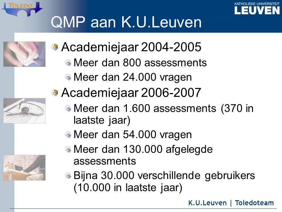 K.U.Leuven | Toledoteam QMP aan K.U.Leuven Academiejaar 2004-2005 Meer dan 800 assessments Meer dan 24.000 vragen Academiejaar 2006-2007 Meer dan 1.600 assessments (370 in laatste jaar) Meer dan 54.000 vragen Meer dan 130.000 afgelegde assessments Bijna 30.000 verschillende gebruikers (10.000 in laatste jaar)